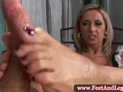 Daria Glower Gives A Sexy Footjob