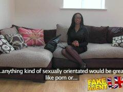 Fakeagentuk Hot Ebony Chick Takes A Dick
