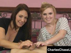 Tampa Cougar Charlee Chase's Dual Handjob!