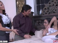 Latina Step-mother And Man Train Her Daughter