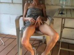 drunk skinny wife lifting skirt