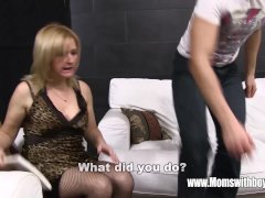 Mature Blonde Step-mother Butt Spanking Her Stepso