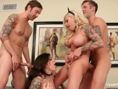 Vyxen & Karmen have a hot fucking foursome