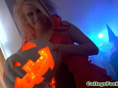 Russian Coeds Enjoy Halloween Group