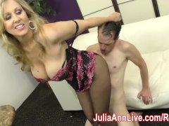 Milf Julia Ann Makes Slave Cum on Her Stockings from FootJob!