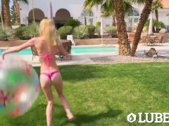 Lubed Blonde Skinny Kenzie Kai Fucked Outdoors On Slip N Slide