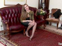 Horny brunette bursting to cum in vintage corset nylons high heels wanking