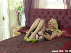 Blonde Ashleigh Mckenzie Teasing Playing With Pussy In Classic Lingerie Nylon