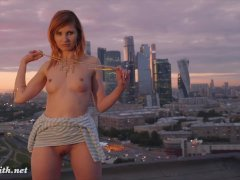 Jeny Smith fishnet pantyhose public nudity on a roof top
