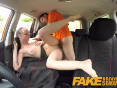 Fake Driving School Cum covered pussy after gamer minx strikes sexual deal