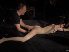 Bondage Teen in Hard BDSM punishment for naughty behavior made to cum