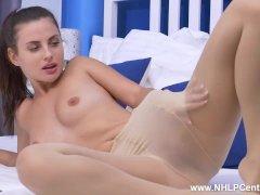 Petite Brunette Jasmine Jazz Enjoys Erotic Masturbation In Nude Pantihose