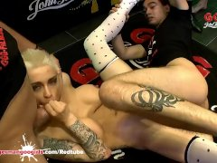 DP and Cum for Tattooed busty Babe Mila Milan - German Goo Girls