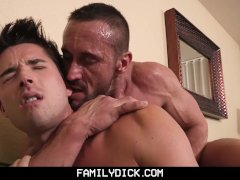 FamilyDick - Angry drunk muscle stepdad barebacks his pretty boy son