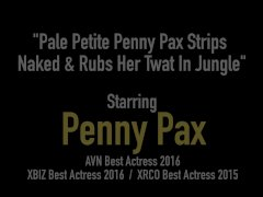 Pale Petite Penny Pax Strips Naked & Rubs Her Twat In Jungle