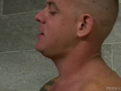 Horny 4 Hairy Guys, Tattoos & Big Dicks In A Public Shower!