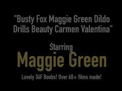 Busty Fox Maggie Green Dildo Drills Beauty Carmen Valentina