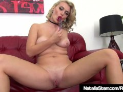 Blonde Beauty Natalia Starr Stuffs Her Tight Pussy & Cums!
