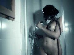 Brunette Masturbates On The Shower