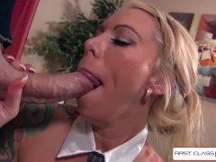 Hot secretary Lolly Ink sucking a monster cock, big boobs - FirstClassPOV