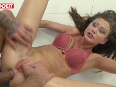 Rough anal destruction for brunette babe Tina Kay