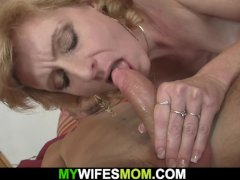 Blonde girlfriends hot mom helps him cum