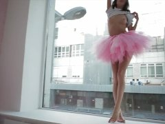 Magnificent Sveta Dancing Wearing A Pink Ballerina Tutu Dress
