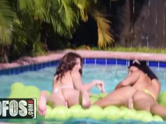 Two big natural teens share one lucky cock by the pool - MOFOS
