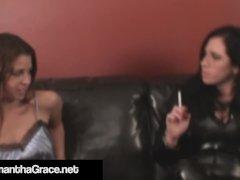 Dom Samantha Grace Binds & Fondles Slave Cali Logan!
