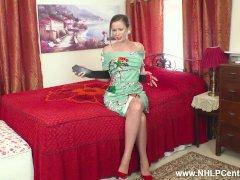 Big Fun Bags Brown-haired Cougar Vicki Peach Jerks In Antique Girdle Nylons Crimson Heels