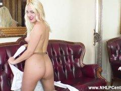 Hot Blonde Liz Rainbow Fingers Pussy In Ripped Nylon Pantihose Heels