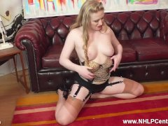 Retro Blonde Satine Spark Fingers Herself In Classic Nylons Heels Garters