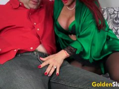Big Mounds Elderly Cumslut Spectacular Vanessa Wrecks A Fortunate Dudes Cock