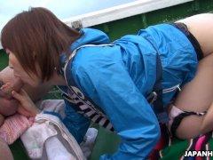 Japanese teen, Nonoka Kaede got fucked in the boat, uncensored