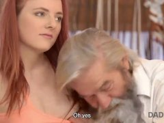 Grey Haired Daddy And His Teen Son Both Fuck Teen Red-haired