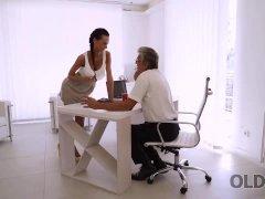 OLD4K. Long-legged brunette gives herself to old handsome boss