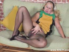 Leggy Masie Dee Makes Herself Sperm Fingering In Torn Pantyhose And Heels