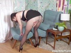 Hot Cougar Cherri Rips Her Black Pantihose And Masturbates Wet Pink Cunt