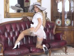 Busty blonde Michelle Moist hot masturbation in gloves garters nylons heels