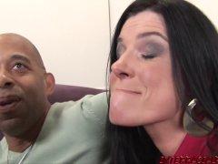 Naughty babe Savannah talks India into interracial 3way