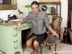 Gorgeous Assistant Natalia Forrest Fingers Pussy In Classic Nylon And Garters