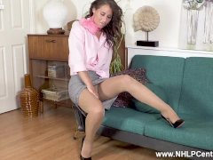 Horny Brunette Jess West Masturbates Dildo Toy In Open Crotch Pantyhose