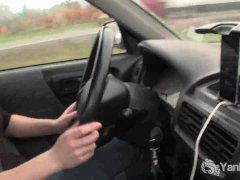Yanks Beauty Lou driving and rubbing her wet pussy