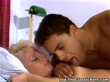 Blonde pussy massaged by stick