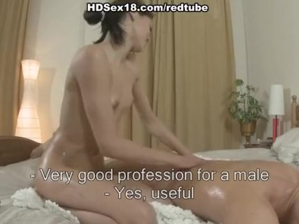 Sexy brunette does massage and fucks