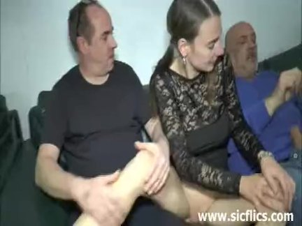 Teen double fisted and fucked by two brutes