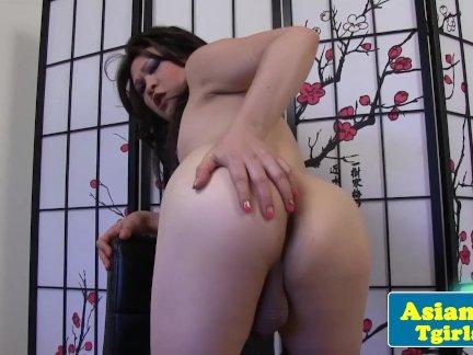 Asian tgirl Mia Lee posing and tugging