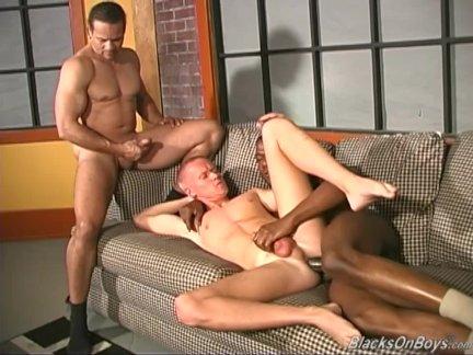 Gay interracial threesome banging