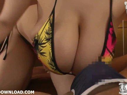 Грудастая азии с огромный грудь в бикини давая горячая массаж