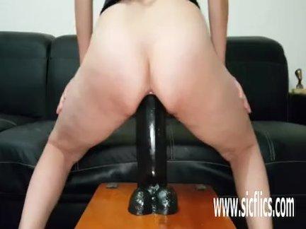 Gigantic dildo fucking amateur MILF Sarah